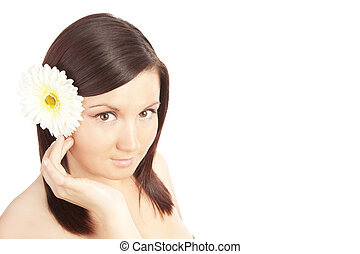 beautiful woman isolated over white