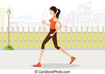Beautiful woman jogging in park