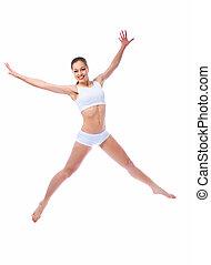 beautiful woman jump