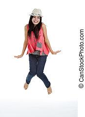 beautiful woman jumping