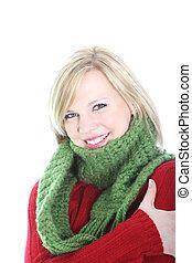 Beautiful woman keeping warm in winter