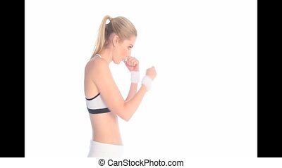 Beautiful Woman Kickboxing
