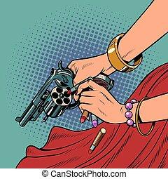 Beautiful woman killer with a gun. Pop art retro ...
