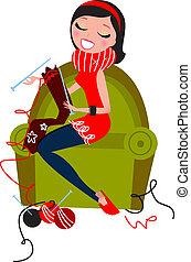 Woman sitting in sofa knitting traditional wool knitwear. Retro vector Illustration.