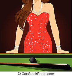 beautiful woman leaning on a pool table