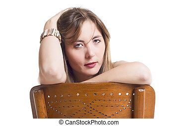 Woman Leaning On Wooden Chair
