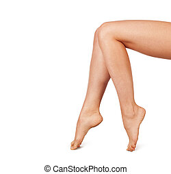 Beautiful Woman Legs Isolated on the White Background