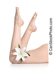 Beautiful woman legs lying with a flower