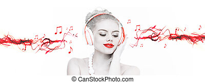 Beautiful woman listening to music - Artistic portrait of a ...