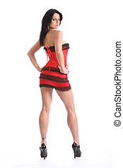 Beautiful woman long sexy legs red corset lingerie
