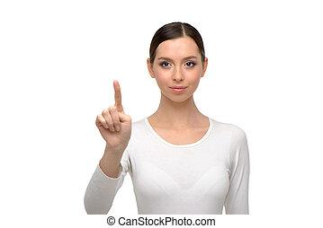 Beautiful woman looking and pointing at camera