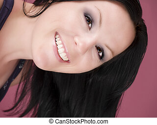 beautiful woman looking in