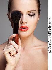 Beautiful woman. Make-up Face.