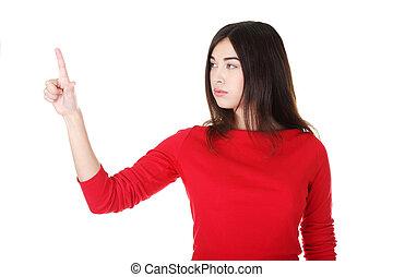 Beautiful woman making choose on abstract screen