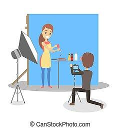 Beautiful woman making photoshoot in the studio.