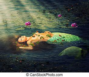 Beautiful woman mermaid