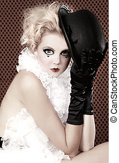 Beautiful Woman Mime Acting in a Show - Woman Mime Acting in...