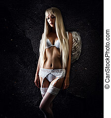 beautiful woman model angel wearing white lace lingerie