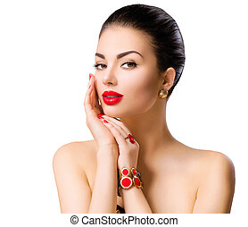 Beautiful woman model face portrait with red lipstick and red nails