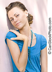 woman near pink wall