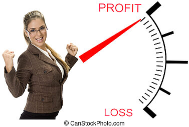 beautiful woman near profit loss meter - beautiful woman ...