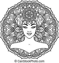 beautiful woman on a mandala background.