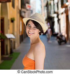 Beautiful woman on a street in Palma de Mallorca