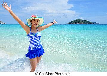 Beautiful woman on beach in Thailand