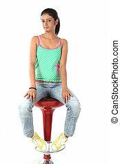 beautiful woman on chair