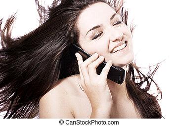 Beautiful woman on her phone