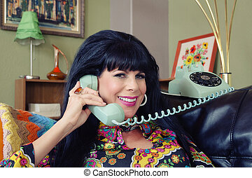 Beautiful Woman on Phone - Beautiful 1960s style Caucasian ...