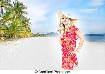 beautiful woman on sand beach