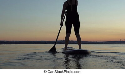 Beautiful woman on Stand Up Paddle Board. SUP. - Silkhouette...
