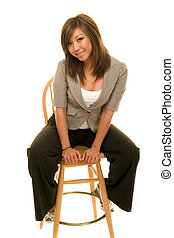 Beautiful Woman on Stool