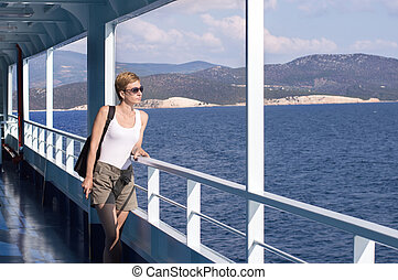 woman on the deck of the ferry