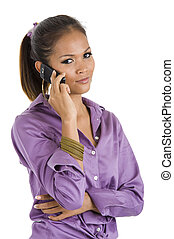 beautiful woman on the phone