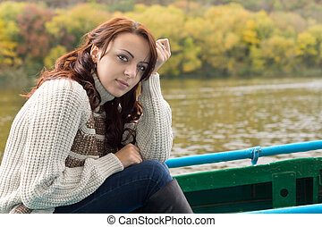 Beautiful woman out boating