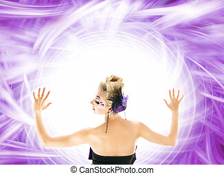 Beautiful woman over abstract purple background