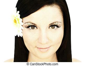 beautiful woman over white
