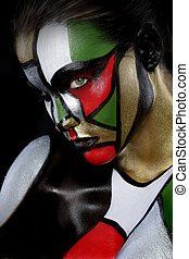 Woman Painted Like Stained Glass Window Beauty Concept -...