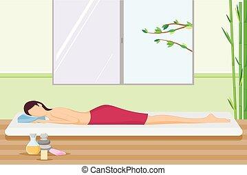 Beautiful woman pampering in spa