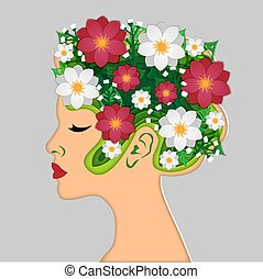 Beautiful woman paper art. Summer, spring woman with flowers