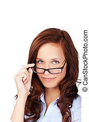 Beautiful woman peering over her glasses