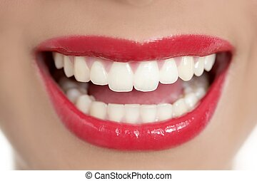 Beautiful woman perfect teeth smile with red lips