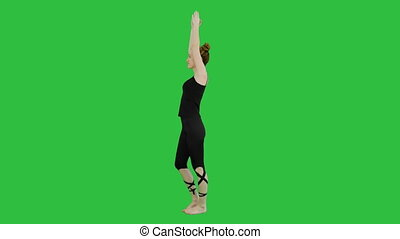 Beautiful woman performing yoga in warrior pose, Virabhadrasana on a Green Screen, Chroma Key