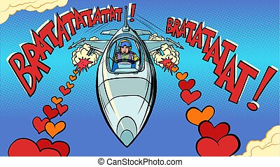 Beautiful woman pilot in love plane. Valentines Day