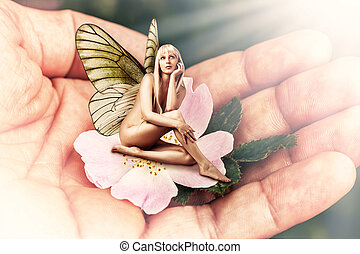 Beautiful woman pixie with butterfly wings