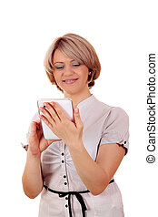 beautiful woman play with tablet on white