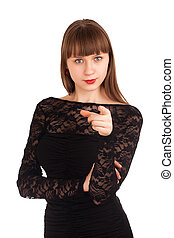 Beautiful woman pointing at you