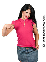 Beautiful woman pointing to her pink blank t-shirt